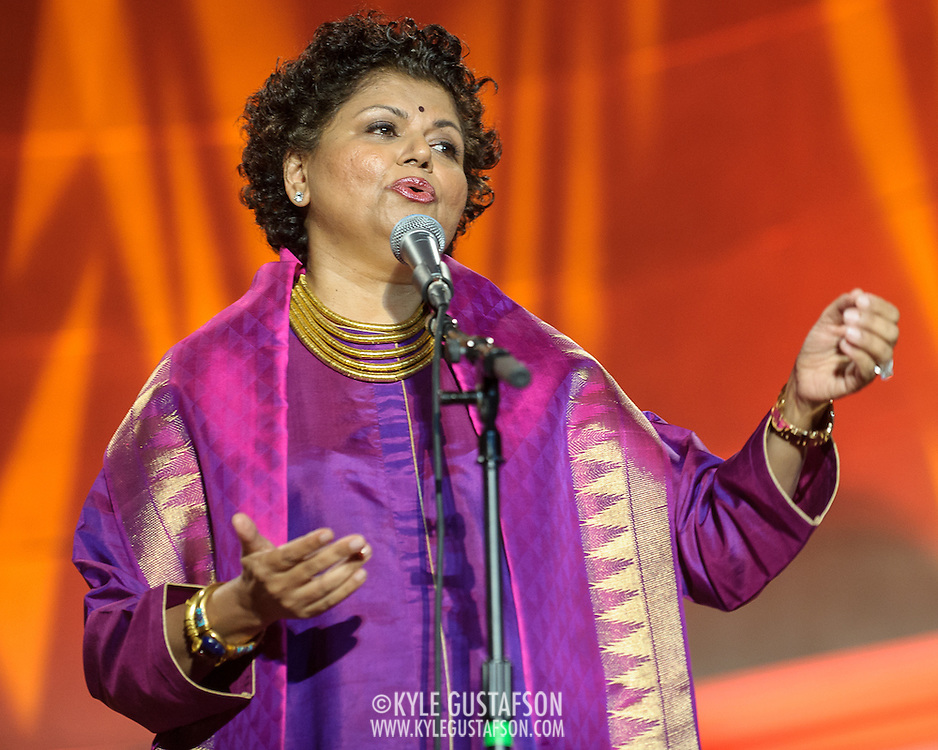 """WASHINGTON, DC - October 17th, 2013 - Chandrika Tandon performs at the """"Some Enchanted Evening"""" gala at at the Andrew W. Mellon Auditorium. The gala is a celebration for  """"Yoga: The Art of Transformation,"""" the world's first exhibition on the art of yoga at the Arthur M. Sackler Gallery. (Photo by Kyle Gustafson)"""