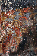 Fresco, detail of crowds of onlookers, in Yilanli Kilise or St George's Church, known as Snake Church, originally part of a monastery, at the Goreme Open Air Museum in Goreme, in Nevsehir province, Cappadocia, Central Anatolia, Turkey. The church has a simple low barrel-vaulted nave and many frescoes, including St Theodore and St George slaying the dragon, which is depicted as a snake. The churches in Goreme are carved from the soft volcanic tuff created by ash from volcanic eruptions millions of years ago. Early christians came here to flee persecution by the Romans and others settled here under the influence of early saints. This area forms part of the Goreme National Park and the Rock Sites of Cappadocia UNESCO World Heritage Site. Picture by Manuel Cohen