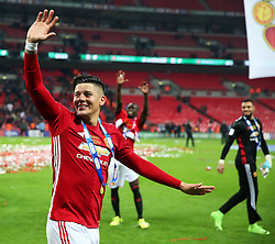 Marcos Rojo of Manchester United celebrates winning the EFL Trophy - Mandatory by-line: Matt McNulty/JMP - 26/02/2017 - FOOTBALL - Wembley Stadium - London, England - Manchester United v Southampton - EFL Cup Final