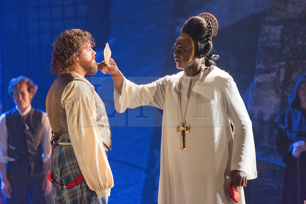 "© Licensed to London News Pictures. 02/06/2014. London, England. Michael Spyres as Benvenuto Cellini and Willard White as Pope Clement VII. . Dress rehearsal of the Hector Berlioz opera ""Benvenuto Cellini"" at the London Coliseum. Directed by Monty Python and movie director Terry Gilliam for the English National Opera. Benvenuto Cellini opens on 5 June for 8 performances. As part of ENO Screen, the opera will be broadcast live to over 300 cinemas in the UK and Ireland and selected cinemas worldwide on 17 June 2014. Co-production with De Nederlandse Opera, Amsterdam and Teatro dell'Opera di Roma. Michael Spyres as Benvenuto Cellini, Pavlo Hunka as Balducci, Corinne Winters as Teresa, Nicholas Pallesen as Fieramosca and Willard White as Pope Clement VII. Photo credit: Bettina Strenske/LNP"