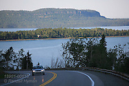 Highway 17 curves past Nipigon Bay, northernmost extent of Lake Superior; Ontario; Canada.