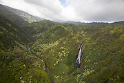 Kauai. Helicopter flight aboard an Island Helicopters Eurocopter AS350 Ecureuil (A-Star). Jurassic Waterfalls.