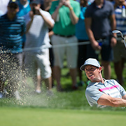 August 24, 2014: Rory McIlroy (NIR) hits out of the sand trap on the 5th hole during the final round of The Barclays Fed Ex  Championship at Ridgewood Country Club in Paramus, NJ. Mandatory Credit:  Kostas Lymperopoulos/csm  (Credit Image: © Kostas Lymperopoulos/Cal Sport Media)