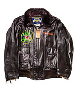 "Navy G-1 flight jacket of WWII veteran Cdr. Leroy Robinson, a confirmed ""ace"" in the Pacific Theatre.  He later flew in Korea, and then was a Captain for Delta Air Lines for 32 years."