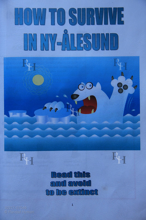 Humorous cover of handbook on polar bear safety at the international science village of Ny-Alesund on Spitsbergen island in Kongsfjorden; Svalbard, Norway.