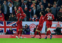LIVERPOOL, ENGLAND - Saturday, December 29, 2018: Liverpool's Roberto Firmino celebrates scoring the first equalising goal during the FA Premier League match between Liverpool FC and Arsenal FC at Anfield. (Pic by David Rawcliffe/Propaganda)