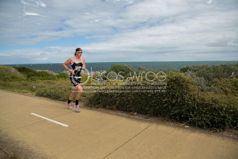 David Dellow (AUS), March 23, 2014 - Ironman Triathlon : Run Course. Ironman Melbourne Race, Run Course Between Frankston And St Kilda, Melbourne, Victoria, Australia. Credit: Lucas Wroe