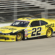 Joey Logano (22) of team Hertz races down the straight away during the NASCAR Nationwide Series 5-HOUR ENERGY 200 auto race at Dover International Speedway in Dover, DE., Saturday,  June 01, 2013.