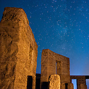 Monoliths and Milky Way at Stonehenge, Maryhill, Washington. Nikon D700, 28/2 Ai.