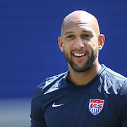 Goalkeeper Tim Howard during the US Mens National Team training at Red Bull Arena in preparation for Sunday's game against Turkey as they prepare for the 2014 FIFA World Cup. Red Bull Arena, Harrison, New Jersey, USA. 30th May 2014. Photo Tim Clayton