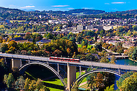 The Kirchenfeldbrucke (bridge) over the Aare River, Bern, Canton Bern, Switzerland