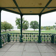 The bandstand or gazebo on the lower common of Wakefield, MA USA