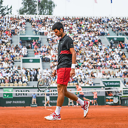 Novak Djokovic (Serbia) looks dejected during Day 10 for the French Open 2018 on June 5, 2018 in Paris, France. (Photo by Anthony Dibon/Icon Sport)