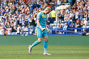 Cameron Dawson of Sheffield Wednesday celebrates Barry Bannan of Sheffield Wednesday scoring a goal during the EFL Sky Bet Championship match between Sheffield Wednesday and Bristol City at Hillsborough, Sheffield, England on 22 April 2019.