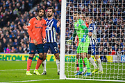 Mathew Ryan (GK)(Brighton), Davy Propper (Brighton) & Andre Gomes (Everton) waiting for the corner kick during the Premier League match between Brighton and Hove Albion and Everton at the American Express Community Stadium, Brighton and Hove, England on 26 October 2019.