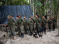 FARC rebels in formation in a camp in the remote Putumayo region of Colombia, on December 11, 2016. (Photo/Scott Dalton)