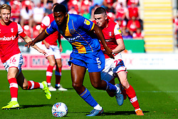 Jake Hastie of Rotherham United chases down Ro-Shaun Williams of Shrewsbury Town - Mandatory by-line: Ryan Crockett/JMP - 21/09/2019 - FOOTBALL - Aesseal New York Stadium - Rotherham, England - Rotherham United v Shrewsbury Town - Sky Bet League One