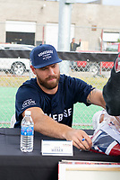 KELOWNA, CANADA - JUNE 28: NHL Montreal Canadiens player Shea Weber autographs a fan's jersey prior to the opening charity game of the Home Base Slo-Pitch Tournament fundraiser for the Kelowna General Hospital Foundation JoeAnna's House on June 28, 2019 at Elk's Stadium in Kelowna, British Columbia, Canada.  (Photo by Marissa Baecker/Shoot the Breeze)