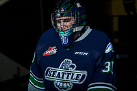 KELOWNA, CANADA - FEBRUARY 23: Liam Hughes #30 of the Seattle Thunderbirds enters the ice for warm up against the Kelowna Rockets on February 23, 2018 at Prospera Place in Kelowna, British Columbia, Canada.  (Photo by Marissa Baecker/Shoot the Breeze)  *** Local Caption ***