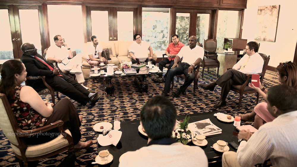 U.S. Ambassador Harry K. Thomas, Jr. and Karen Smith, Program Officer of USAID Philippines welcome 5 time former world heavyweight champion boxer Evander Holyfield, Yank Barry, founder of Global Village Champions Foundation and Governor Chavit Singson.