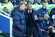 Coventry City manager Mark Robins greets Brighton and Hove Albion manager Chris Hughton during the The FA Cup match between Brighton and Hove Albion and Coventry City at the American Express Community Stadium, Brighton and Hove, England on 17 February 2018. Picture by Phil Duncan.