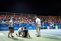 Aljaz Bedene of Slovenia with doctor during semifinal match at Day 9 of ATP Challenger Zavarovalnica Sava Slovenia Open 2019, on August 17, 2019 in Sports centre, Portoroz/Portorose, Slovenia. Photo by Matic Klansek Velej / Sportida