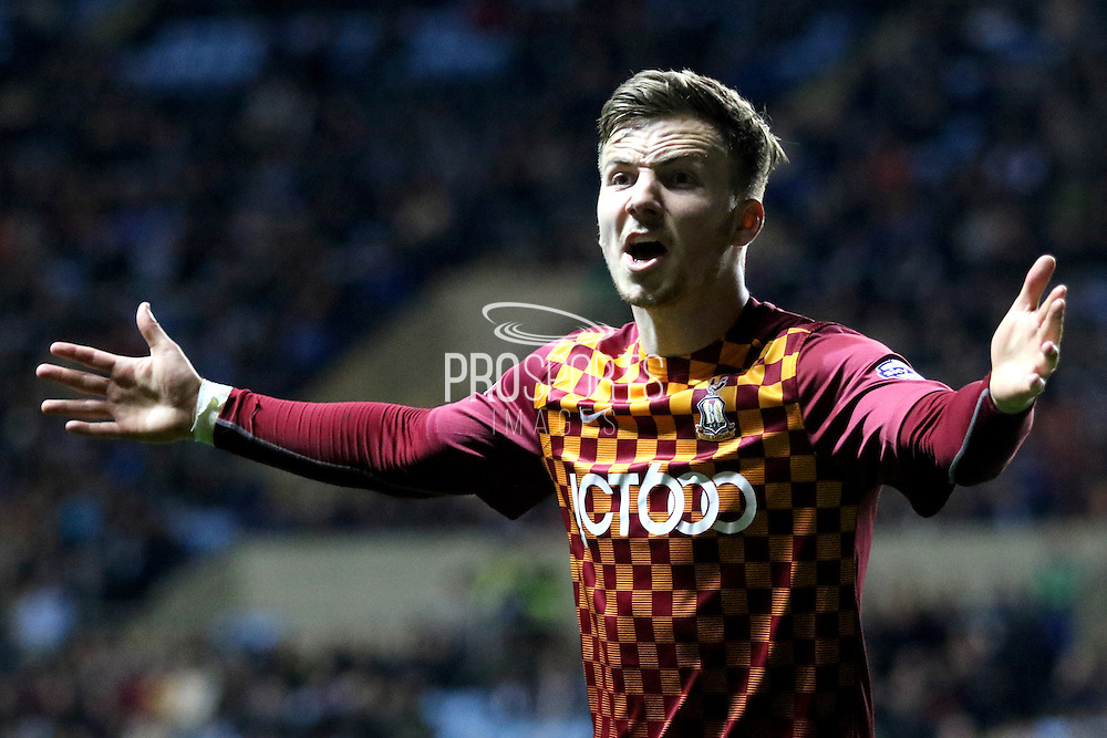 Bradford City midfielder Lee Evans gestures to the linesman during the Sky Bet League 1 match between Coventry City and Bradford City at the Ricoh Arena, Coventry, England on 19 April 2016. Photo by Chris Wynne.
