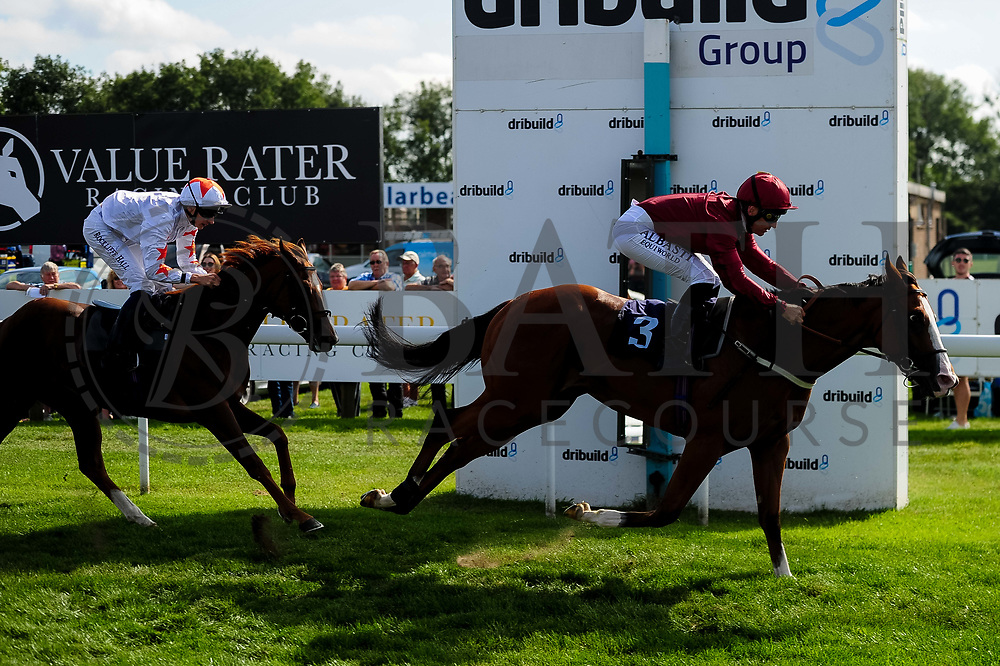 Mai Diva ridden by Ben Robinson and trained by John Quinn in the Visit Valuerater.Co.Uk Nursery Handicap race. Airbrush ridden by Pat Dobbs and trained by Richard Hannon in the Visit Valuerater.Co.Uk Nursery Handicap race.  - Ryan Hiscott/JMP - 15/09/2019 - PR - Bath Racecourse - Bath, England - Race Meeting at Bath Racecourse