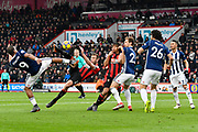 Steve Cook (3) of AFC Bournemouth shoots at goal with an acrobatic kick which hits his own player Nathan Ake (5) of AFC Bournemouth during the Premier League match between Bournemouth and West Bromwich Albion at the Vitality Stadium, Bournemouth, England on 17 March 2018. Picture by Graham Hunt.