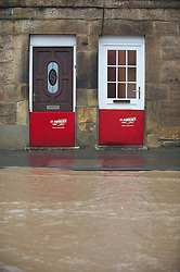 © Licensed to London News Pictures. 26/11/2012..Loftus, North Yorkshire, England..Flood defences are up in the small town of Loftus in North Yorkshire following another night of heavy rain that caused disruption in parts of East Cleveland and North Yorkshire...Photo credit : Ian Forsyth/LNP