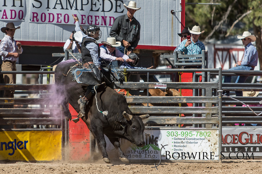 Bull rider Nick Cooley rides Summit Pro Rodeo's 21 Sabbath Rest in the first performance of the Elizabeth Stampede on Saturday, June 2, 2018.