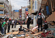 KATHMANDU, NEPAL - APRIL 29: (CHINA OUT) <br /> <br /> Rescue Operations Continue Following Devastating Nepal Earthquake<br /> <br /> French rescue team search for lives on April 29, 2015 in Kathmandu, Nepal. A major 7.8 earthquake hit Kathmandu mid-day on Saturday, and was followed by multiple aftershocks that triggered avalanches on Mt. Everest that buried mountain climbers in their base camps. Many houses, buildings and temples in the capital were destroyed during the earthquake, leaving thousands dead or trapped under the debris as emergency rescue workers attempt to clear debris and find survivors. Regular aftershocks have hampered recovery missions as locals, officials and aid workers attempt to recover bodies from the rubble.<br /> ©Exclusivepix Media