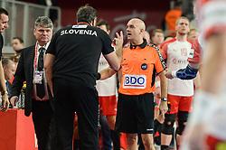 Veselin Vujovic, head coach of Slovenia with referee during handball match between National teams of Slovenia and Denmark on Day 2 in Main Round of Men's EHF EURO 2018, on January 19, 2018 in Arena Varazdin, Varazdin, Croatia. Photo by Mario Horvat / Sportida