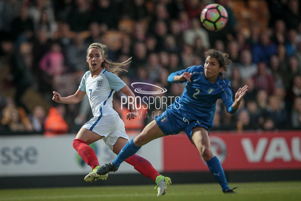 Jordan Nobbs (vice-captain) (England) (Arsenal) crosses the ball with Elisa Bartoli (Italy) (Darl Fiorentina) beaten during the Women's International Friendly match between England Ladies and Italy Women at Vale Park, Burslem, England on 7 April 2017. Photo by Mark P Doherty.