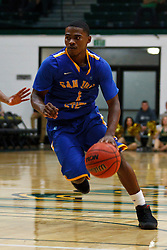 Nov 16, 2011; San Francisco CA, USA;  San Jose State Spartans guard Keith Shamburger (1) dribbles the ball against the San Francisco Dons during the second half at War Memorial Gym.  San Francisco defeated San Jose State 83-81 in overtime. Mandatory Credit: Jason O. Watson-US PRESSWIRE