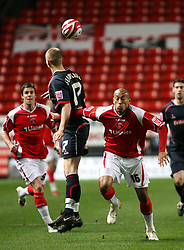 London, England - Tuesday, January 29th, 2008:  Charlton Athletic's Chris Iwelumo in action against Stoke City's Ryan Shawcross during the Coca Cola Championship match at The Valley. (Pic by Chris Ratcliffe/Propaganda)