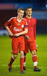 WARRINGTON, ENGLAND - Wednesday, April 29, 2009: Liverpool's Stephen Darby and Nikola Saric after the FA Premiership Reserves League (Northern Division) match against Newcastle United at the Halliwell Jones Stadium. (Photo by David Rawcliffe/Propaganda)