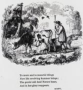 Milking  cows in the fields in June. Engraving, 1840.
