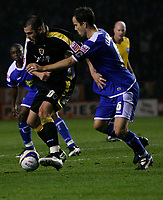 Photo: Steve Bond.<br /> Leicester City v Cardiff City. Coca Cola Championship. 26/11/2007. Steve Thompson (L) grapples with Stephen Clemence (R)