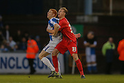 York City defender, on loan from Huddersfield Town, William Boyle  and Bristol Rovers forward, on loan from Cambridge United, Rory Gaffney  during the Sky Bet League 2 match between Bristol Rovers and York City at the Memorial Stadium, Bristol, England on 12 December 2015. Photo by Simon Davies.