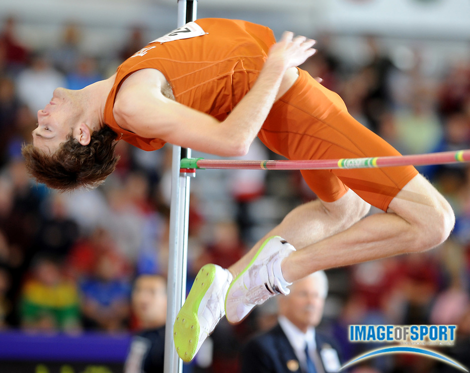 Mar 15, 2008; Fayetteville, AR, USA; Joel Hargett of Texas tied for 10th in the high jump at 6-10 1/4 (2.09m) in the NCAA indoor track and field championships at the Randal Tyson Center.