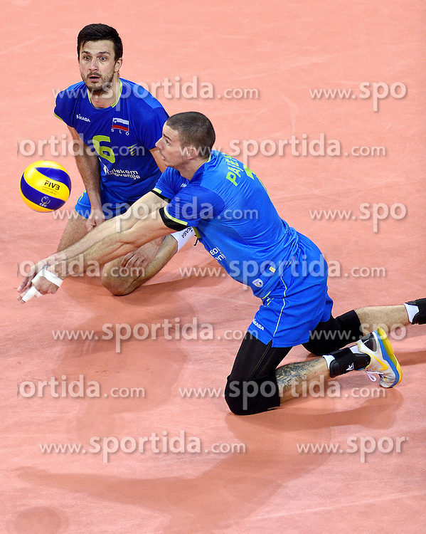 Mitja Gasparini #6, Alen Pajenk #2 during volleyball match between National teams of Poland and Slovenia in Quarterfinals of 2015 CEV Volleyball European Championship - Men, on October 14, 2015 in Arena Armeec, Sofia, Bulgaria. Photo by Ronald Hoogendoorn / Sportida