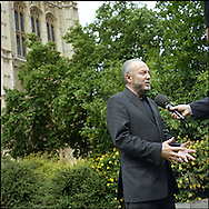 UK. London. From a story on Abingdon Street Gardens, a small patch of land, often referred to as College Green, that lies next to The Houses of Parliament in Westminster. It is a place where the media and the politicians come face to face. Interviews are held, photo shoots are set up and bewildered tourists stroll by..Photo shows the Respect Party's George Galloway MP on the day Gordon Brown took over as British Prime Minister..Photo©Steve Forrest/Workers Photos