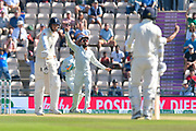 Wicket - Virat Kohli (captain) of India celebrates the wicket of Stuart Broad of England of the bowling of Mohammed Shami of India during the 4th day of the 4th SpecSavers International Test Match 2018 match between England and India at the Ageas Bowl, Southampton, United Kingdom on 2 September 2018.