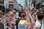 Japan, Tokyo : TOKYO, JAPAN - MAY 08: Participants attend the rainbow pride parade on May 8, 2016 in Tokyo, Japan.