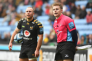 Wasps scrum half Dan Robson (9) checks the score with the touch judge during the Gallagher Premiership Rugby match between Wasps and London Irish at the Ricoh Arena, Coventry, England on 20 October 2019.