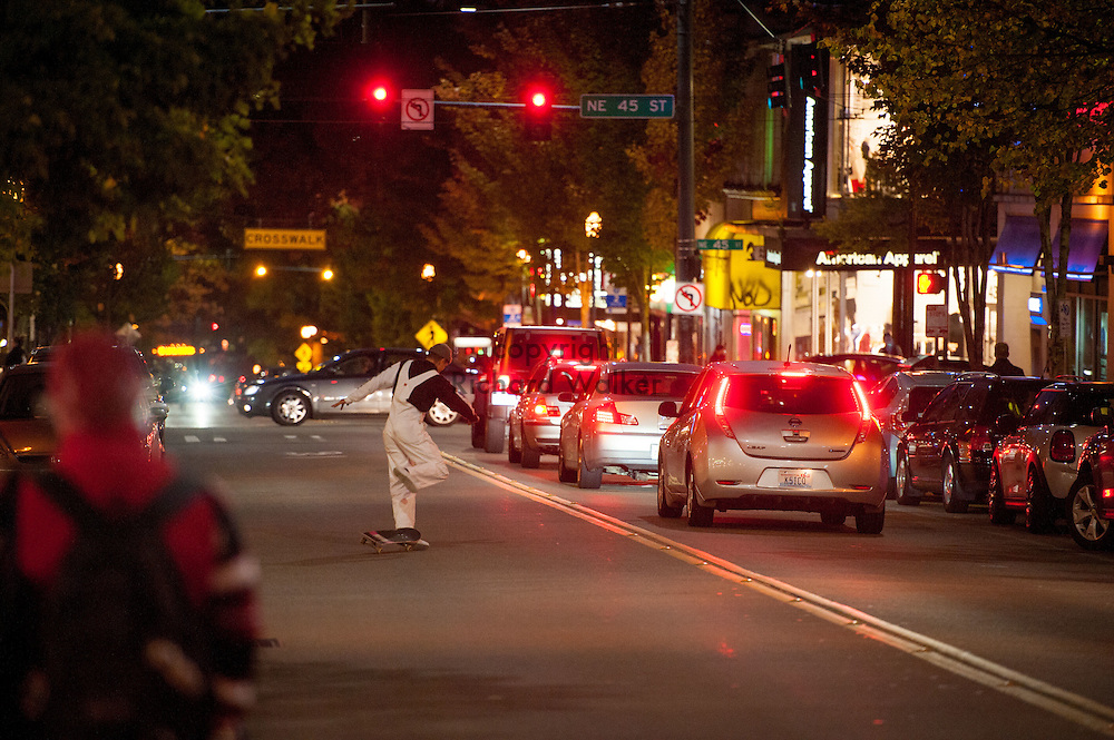 2016 October 10 - Skater on University Way in the University District, Seattle, WA, USA. By Richard Walker