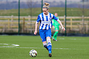 Vicky Ashton-Jones in action during the FA Women's Premier League match between Brighton Ladies and Cardiff City Ladies at Brighton's Training Ground, Lancing, United Kingdom on 22 March 2015. Photo by Geoff Penn.