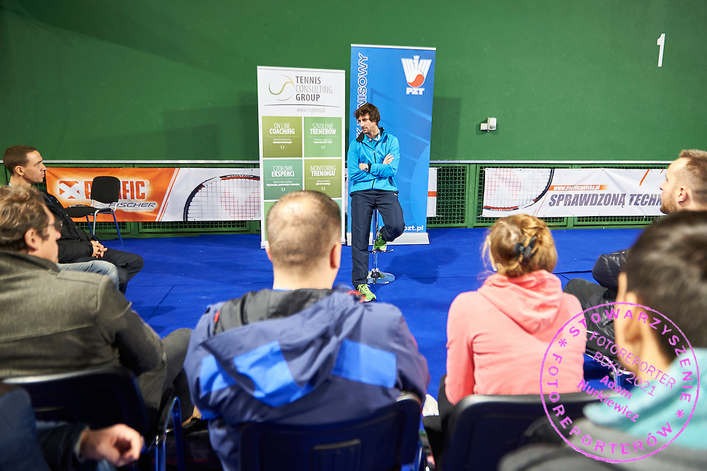 Physiotherapist Krzysztof Guzowski speaks during PZT - Trainer's Conference of Polish Tennis Association at Mera Hall in Warsaw, Poland.<br /> <br /> Poland, Warsaw, November 28, 2015<br /> <br /> Picture also available in RAW (NEF) or TIFF format on special request.<br /> <br /> Any editorial, commercial or promotional use requires permission.<br /> <br /> Adam Nurkiewicz declares that he has no rights to the image of people at the photographs of his authorship.<br /> <br /> Mandatory credit:<br /> Photo by &copy; Adam Nurkiewicz / Mediasport