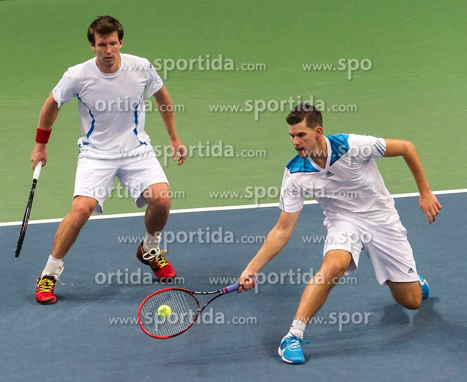 05.04.2014, Aegon Arena, Bratislava, SVK, ITF, Davis Cup, Slowakei vs Oesterreich, 2. Runde, Europa-Afrika-Zone I, im Bild v.l. Alexander Peya (AUT) und Dominic Thiem (AUT) // v.l. Alexander Peya (AUT) und Dominic Thiem (AUT) during the 2nd round of Europe Africa zone one of ITF Davis Cup between Slovakia and Austria at the Aegon Arena in Bratislava, Slovakia on 2014/04/05. EXPA Pictures © 2014, PhotoCredit: EXPA/ Michael Gruber